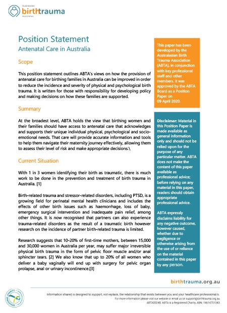 Antenatal care in Australia, positional statement