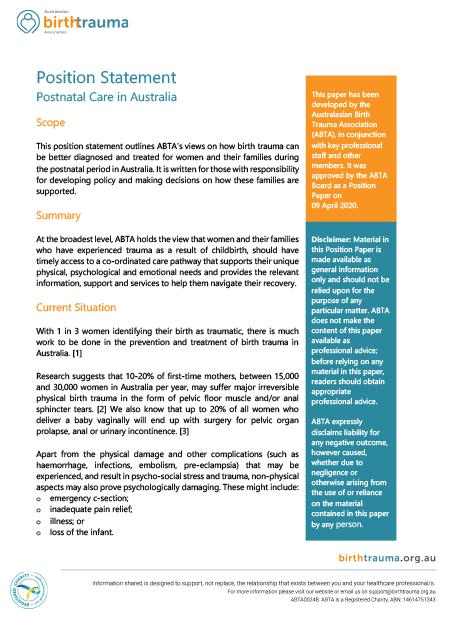 Postnatal care in Australia, positional statement